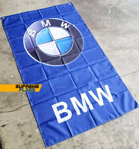BMW Flag (3x5 ft) Auto Car Racing Garage Mancave Wall Deco Blue