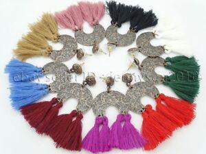 Colorful Cotton Silky Silk Trim Tassel Pendant Copper Plated Earrings Set