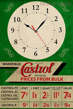 CASTROL WALL CLOCK OLD RUSTED LOOK. GREAT GIFT FOR ANY PETROL HEAD, GARAGE, ETC