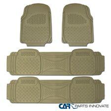4PCs Car Truck SUV Van Custom Beige PVC Rubber Floor Mats Carpet Front & Rear