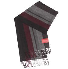 NEW ALFANI Sophisticated Striped Scarf Walnut Brown Rustic Red Black NWT /5716