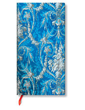 Paperblanks Writing Lined Journal Blue Silver Floral Shimmer Slim Size 3x7 NWT