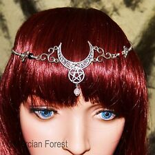 Triple Goddess Crescent Moon Headdress - Pagan Jewellery, Wicca, Witch, Pentacle