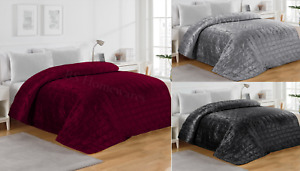 Luxury Soft Velvet Quilted Bedspread Bed Throw Comforter King Size Smooth Touch