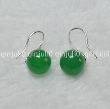 Natural 10mm round Green Jade  gemstone Beads silver Hook Dangle Earrings JE93