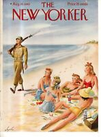 1943 New Yorker Cover Only August 14 - Patrolling the New Jersey Beach -Alajalov
