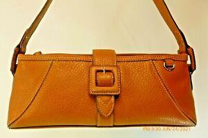 MINT LIZ CLAIBORNE Lt Brown Pebbled Soft Faux Leather Baguette Shoulder Handbag