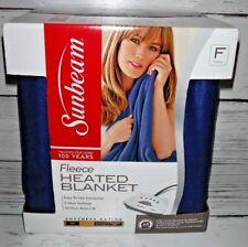 New Sunbeam Heated Fleece Full Blanket Throw Navy Blue