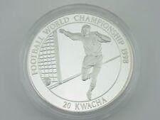 20 Kwacha Malawi Fussball WM 1998 Silber polierte Platte PP proof M684