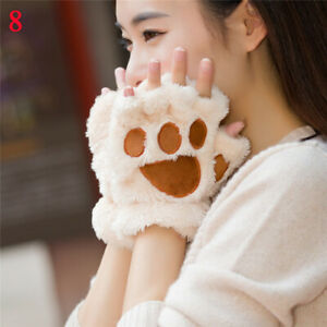 Women Fleece Bear's Paw Glove Girl Mitten Half Finger Gloves Mitts Cute Gift