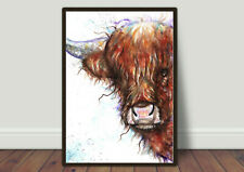 Highland Cow Watercolour Print, Artcard, Frammed Picture, Original art