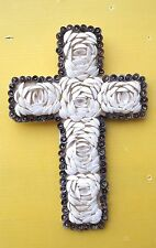 BALINESE UNIQUE HAND MADE&CARVED WOODEN CROSS WITH NATURAL SHELL DESIGN 30cmH