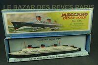 DINKY TOYS FRANCE.  Transatlantique paquebot NORMANDIE + Boite. REF 52 C.