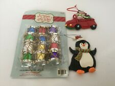 Christmas Tree Ornaments Pkg 12 small new drums + moose in car and penguin