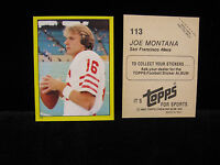 1982 Joe Montana Topps Yellow Sticker  #113