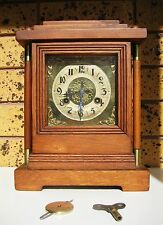 Antique Oak and Brass Mantle Clock with Art Nouveau Face and Half Hourly Chime