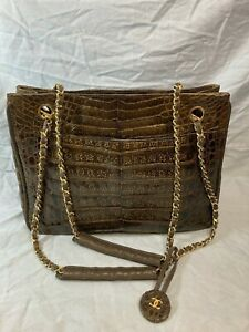 Vintage Chanel brown crocodile tote bag purse Made in Italy