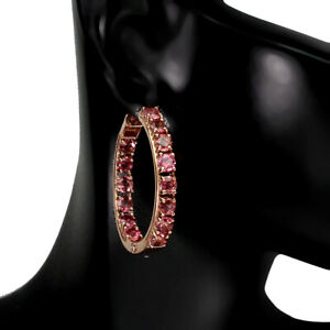 Unheated Round Pink Tourmaline 14K Rose Gold Plate 925 Sterling Silver Earrings
