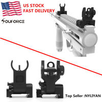 US Flip up Front Rear Iron Set BUIS Back Up Sights For 20mm Mount Gun Rifle