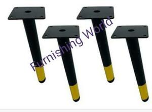 BLACK & GOLD METAL ANGLED LEGS for uk FURNITURE FEET SOFA BEDS CHAIRS STOOLS tab