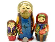 Rusas Grande matrioska Nido Muñeca 3 pintado a mano Mamá Papá & Bebé SON Ryabova
