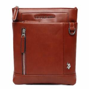 US polo Asn Cambridge Flat Men's  Crossbosy Bag Vegan Leather Brown