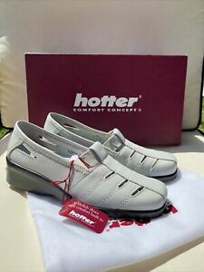 HOTTER «AMY» GREY LEATHER SLIP ON SHOES SIZE 3 STANDARD FIT BNIB