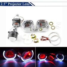 "2.5"" Bi Xenon HID Projector Lens LED White Angel Ring + Red Demon Eyes for H7 H4"