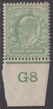 GB KEVII 1/2d Yellow-Green SG218 Control G8 Halfpenny Edward VII Mint Hinged
