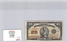 BILLET CANADA - 25 CENTS - 2.7.1923 - J673628