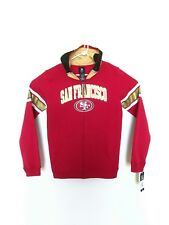 NWT San Francisco 49ers NFL Youth Full Zipper Helmet Hoodie Jacket Size XL Red