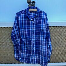 Vintage Chaps Mens Long Sleeve Button Down Collar Shirt Blue Check XL (#A906)
