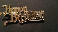 Happy Birthday Gold Coloured Plastic Motto cake Topper Decorations