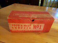 Vintage Universal No.1 Food Chopper Meat Grinder Hand Crank Wood Handle w/ Box