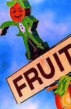 Fruit Neon Sign Hand Colored Photo Road Art Orange Florida Restaurant Art Decor