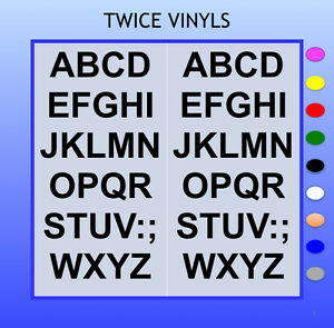SELF ADHESIVE LETTERS stickers graphics 50mm high vinyl alphabet set A-Z Arial