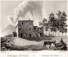 EREMITAGGIO DEL VESUVIO.Vesuvius.Somma Vesuviana.Audot.ACCIAIO.PASSEPARTOUT.1835