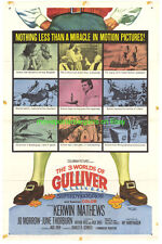 THREE 3 WORLDS OF GULLIVER MOVIE POSTER 27x41 Folded RAY HARRYHAUSEN SF 1960