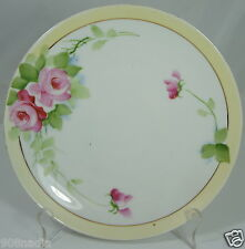 VINTAGE NIPPON HAND PAINTED PLATE WHITE, PALE YELLOW & PINK ROSES FLOWERS