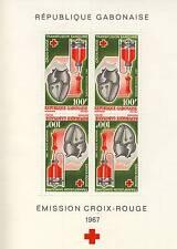 GABON TIMBRE BLOC N° 7 ** CROIX ROUGE TRANSFUSION SANGUINE