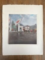 "1940s ""THE EMPEROR AT TOKYO IMPERIAL UNIVERSITY"" FUJISHIMA TAKEJI PAINTING PRINT"