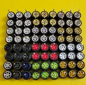 1/64 Rubber Wheels Real Riders 10mm 36 sets Lot Hot Wheels TE37 Star 6 Spoke