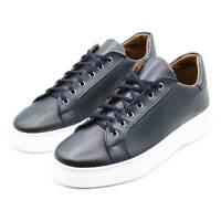 Sneakers Uomo in Pelle Blu Elegante Scarpe da Ginnastica Sportive Casual