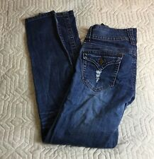 Wax Jeans Skinny Slim Ripped Torn Destroyed Women Size 7 Stretch Flap Pockets