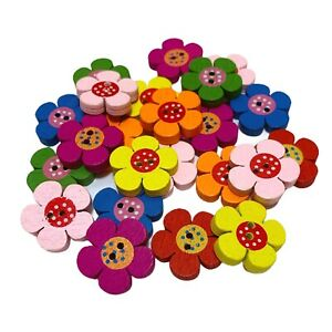 30 CHUNKY WOODEN FLOWER BUTTONS  - MIXED COLOURS  - CRAFT - SEWING - SCRAPBOOK