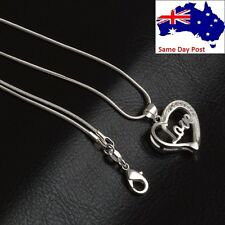 Cute Women Jewelry Gift Silver Plated Crystal Love Heart Pendant Chain Necklace
