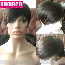TAMAPA Human Short Pixie Wigs Black Brazilian Bob None Lace Wig For Black Women
