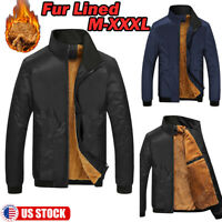 Men Casual Business Jacket Thin Cotton Fur Lined Outerwear Bomber Coat Outwear