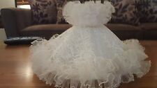 Vintage Ruffled Cream and Lace Fabric Lamp Shade