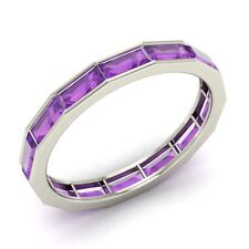 Certified Emerald Cut Amethyst Wedding Band/Ring in 18k White Gold- 4.58 Cts